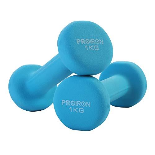 PROIRON Kurzhanteln Hanteln Übung Neopren Hantel (2er-Set) (Blau 2×1 kg)