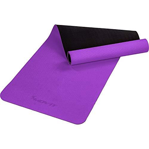 Movit XXL TPE Pilates Gymnastikmatte, Yogamatte, schadstoffgeprüft, 190x60, Stärke 0,6cm, Yoga Matte, Lila