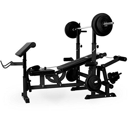 Klarfit Workout Hero 300 - Kraftstation, Fitnessstation, Trainingsstation, Bankdrücken, Kabelzug, Curl-Pult, Bein-Curler, Butterfly, gepolsterte Rückenlehne + Sitzfläche, Stahl, schwarz