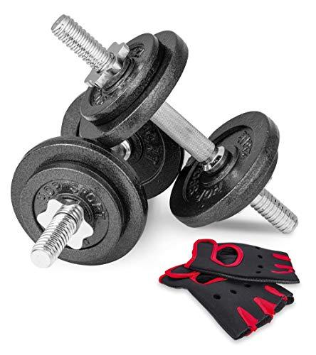 Hop-Sport Guss Kurzhanteln Hantel Set Hanteln 10kg 15kg 20kg 30kg 40kg 60 kg Gewichte (2 x 10 kg)