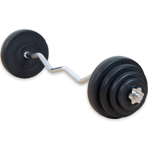 Movit® 23,5 kg Curlset, 1 SZ Curlstange gerändelt und verchromt mit Sternverschlüssen + 8 Gewichtsscheiben Hantelscheiben Curl Set Hantelset