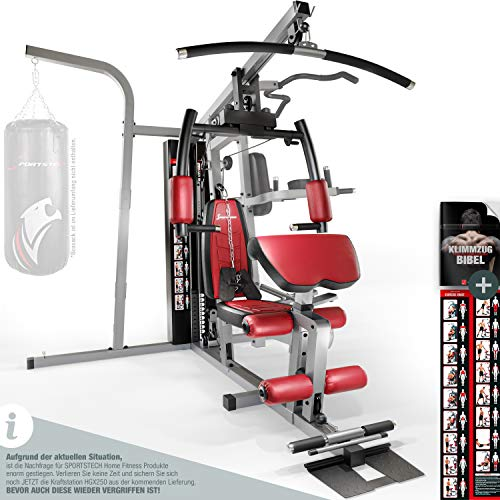 Sportstech Premium 50in1 Kraftstation für EIN Allround Training | Multifunktions-Heimtrainer mit Stepper & LAT-Zugturm | HGX Fitness-Station aus Eva Material | Robust für Zuhause (HGX250 Modell2021)