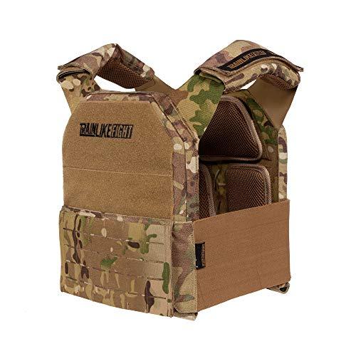 TRAINLIKEFIGHT Metcon Tactical Vest MTV - Trainingsweste für Cross Training, Calisthenics oder Fitness - verstellbar - geeignet für Gewichtsplatten (Nicht ENTHALTEN) - Camouflage