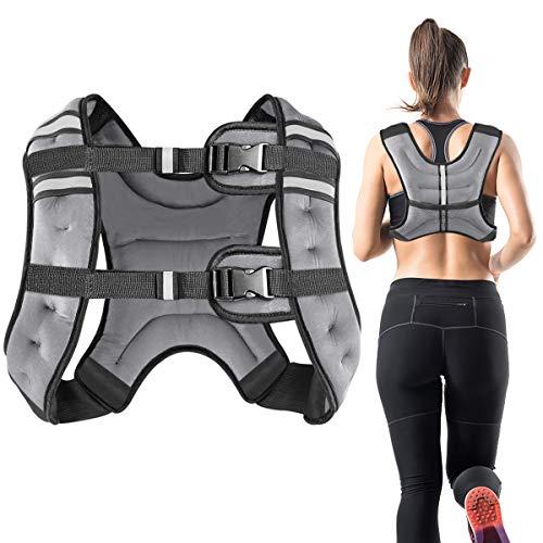 Vailge Gewichtsweste, 2kg/5kg/10kg Laufweste, Training mit Gewichten Trainingsweste für Fitness, Krafttraining, Laufen, Cross Training, Muskelaufbau(Grau,10kg)