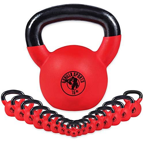 GORILLA SPORTS® Kettlebell - 2-32 kg Gewichte, Einzeln/Set, Gusseisen, Neopren Beschichtung, Bodenschonende - Kugelhantel, Schwunghantel, Rundgewichte, Krafttraining